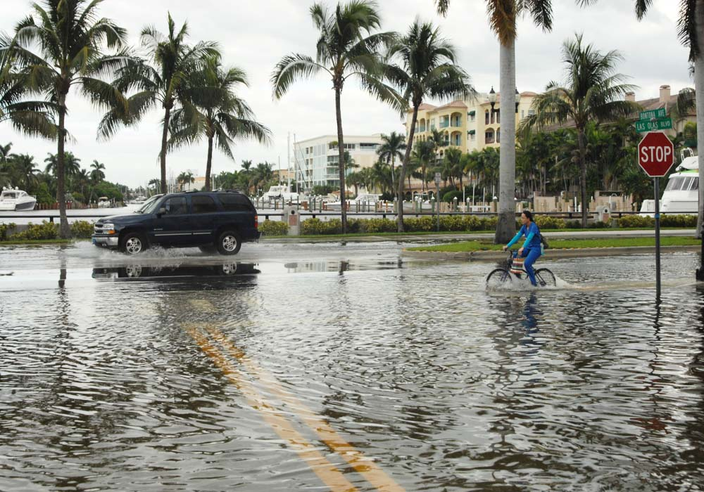 King tide flooding on Las Olas Boulevard in the City of Fort Lauderdale. @Paul Krashefski